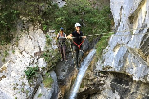 Klettersteig Rhein : Klettersteig mit seilen leitern und stufen an der weinlage